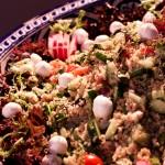 Mediterranean Quinoa Salad with mozzarella ball and fresh pesto