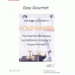 Gold Award Healthy Work place, Easy Gourmet, London Caterer